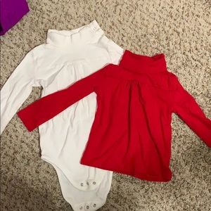 Turtle neck top set red and white